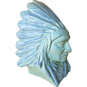 "Vintage Van Briggle 11"" Indian Chief Sitting Bull Bust Turquoise Limited Edition"