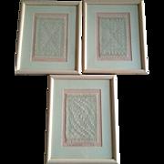 Vintage 3 Framed Hand Loomed Coverlet Weaving Samples, Great Home Decor, Signed
