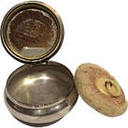1911 Silverplate Miniature Compact Signed, Williams Talc Powder, W/ Orig Puff & Mirror