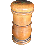 Mauchline Ware Cylindrical Container or Needle Case with Lid Excellent Condition