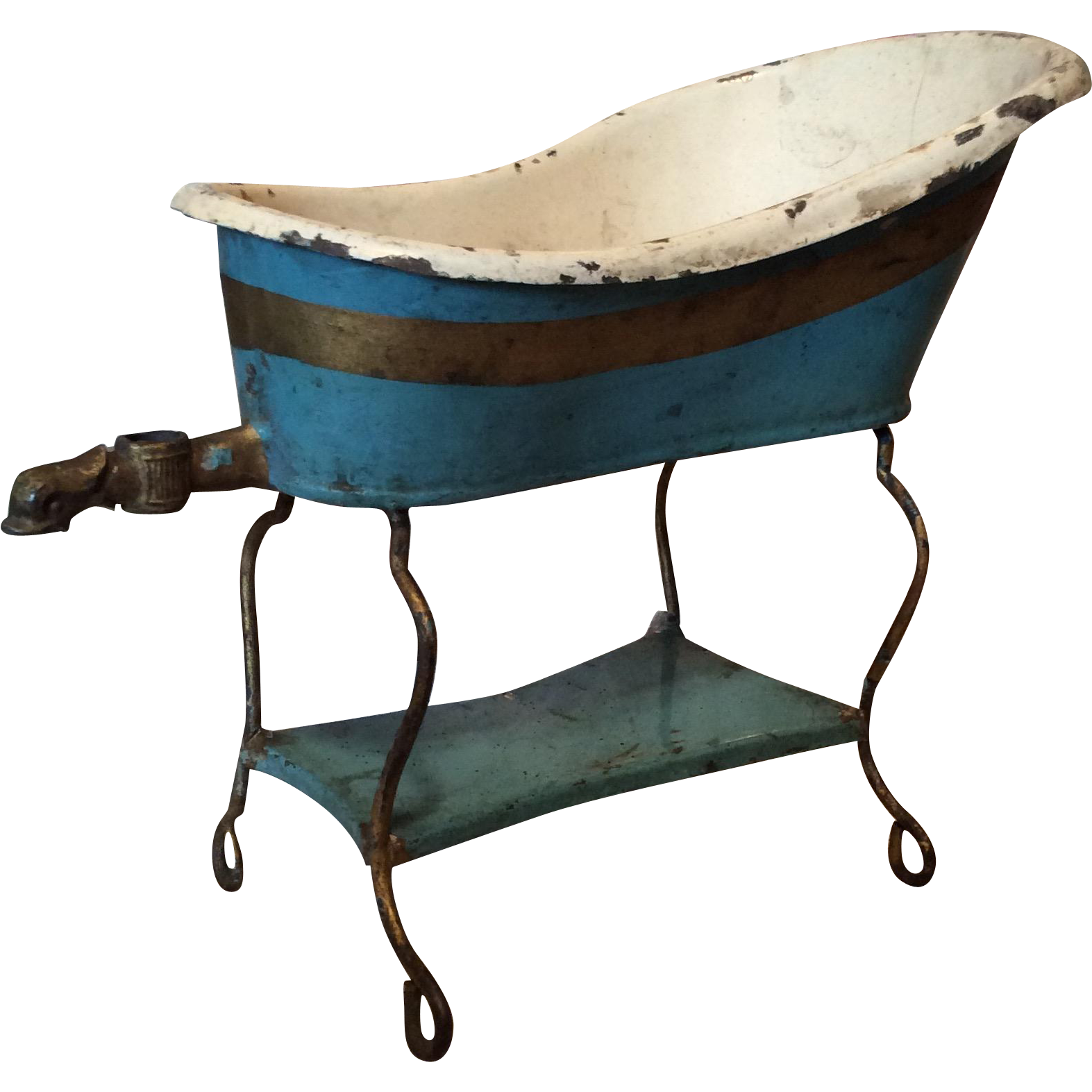 German Metal Doll Tub With Original Paint From