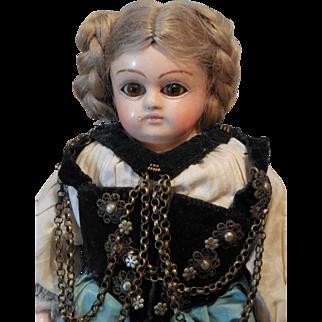 Papier Mache Child Doll-Original Clothing