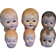 Five Composition Doll Heads for Repairs