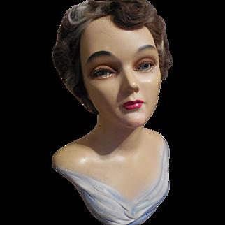 Art Deco Mannequin Bust-Glass Eyes
