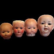 Four German Bisque Heads