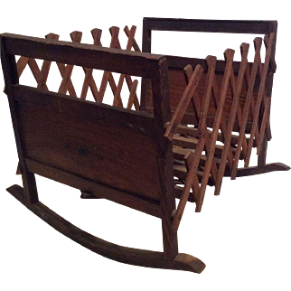 Antique Accordian wood Cradle by Fenner
