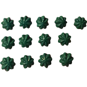Early Green Glass Buttons for Doll Clothing