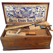 Boy's early 20th century Bliss Union Wood Tool Chest with tools