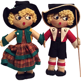Adorable Pair of Vintage Wool Cloth English Character Dolls in Boxes
