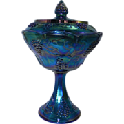 Carnival Glass Blue Compote Indiana Glass Grape Design