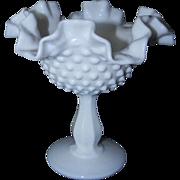 Fenton Glass Hobnail Milk Glass Compote