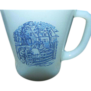 Fire King Set of Six White Mugs with Blue Design
