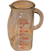 Glasco USA Four Cup Vintage Glass Pitcher - Red Tag Sale Item