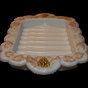 Westmoreland Paneled Milk Glass Grape Soap Dish