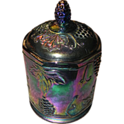 Indiana Glass Carnival Glass Biscuit Barrel Grape Pattern