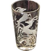 Mid Century Antelope Gazelle Weighted Hi-ball Glasses