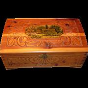 Beautiful Wooden Trinket Box USA Lock Great Design