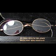 Child's 19th Century Vintage Gold Rim Wire Eye Glasses