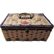 Vintage Sewing Basket with Mending Wool and Notions