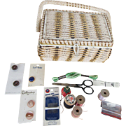 Vintage Woven Sewing Basket with Notions