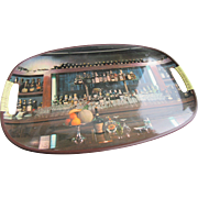 Japanese Bar Tray 1950s with Photo of Liquor Bottles and Glassware