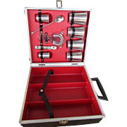 Travel Liquor Case with Bar Tools and Glasses