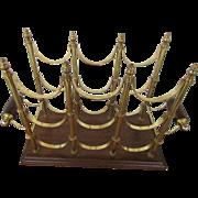 Ornate Brass Wine Rack Holds Nine Bottles