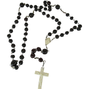 Unusual Vintage Rosary Brown Beads and Plastic Cross and Medallion