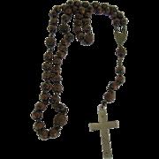 Vintage Ebony Rosary France Wooden Beads