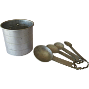 Vintage Aluminum Cup and Measuring Spoon Set