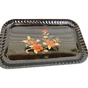 Japanese Lacquer Serving Tray Floral Design