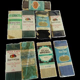 Thirteen Vintage Bias Tape, Rick Rack, Seam Binding Original Packages