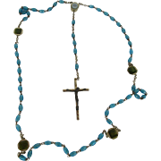Catholic Rosary from Lourdes Blue and Green Beads