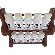 Vintage Wooden Spice Rack Ten Milk Glass Spice Jars