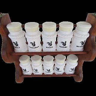 Vintage Wooden Spice Rack Ten Milk Glass Spice Jars