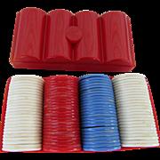Varco Plastic Poker Chips 1960s Red Case