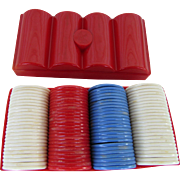 Varco Plastic Poker Chips 1960s Red Case