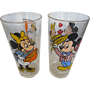 Mickey and Minnie Mouse Beverage Glasses 1977 Pepsi Collection