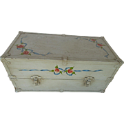 Wooden Doll Trunk Tole Painting and Metal Trim 1960s