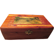 Keepsake Wooden Box Detailed Carving Brass Trim