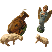 Midcentury Nativity Set Figurines: Angel, Sheep, Cow Hand Painted
