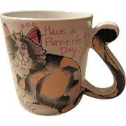 Pussy Cat Mug Long Tail Decorative Japan