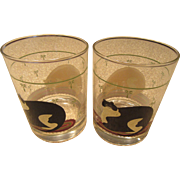 Pair of Warren Kimble Feline Beverage Glasses