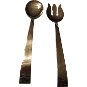 Stainless Steel Salad Servers Japan 1960s: Fork and Spoon