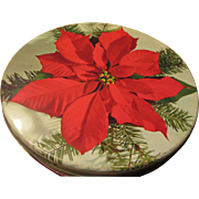 Olive Can Chicago Poinsettia Sewing Tin or Storage Tin