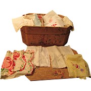 Nine Lovely Hankerchiefs Vintage Cardboard Sewing Box