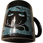 Pussy Cat: Colorful, large Coffee Mug with Fish