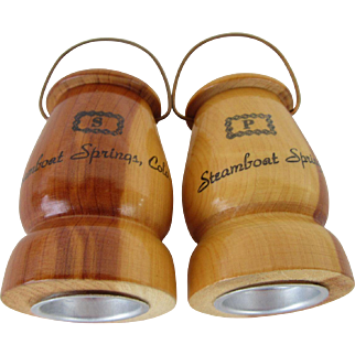 1960s Cedar Wood Steamboat Springs, Colo. Salt and Pepper Shakers