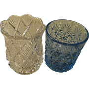 Pressed Glass Daisy Pattern & Diamond Pattern Toothpick Holders