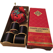 Coats & Clark's  Sewing Box, Wooden Spools, Red Pin Cushion